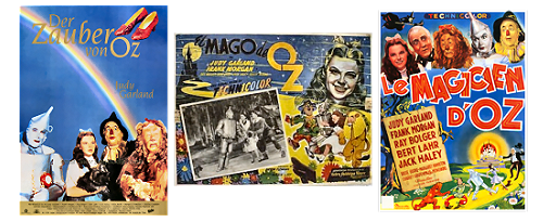 Images of foreign posters for the 1939 MGM musical of The Wizard of Oz