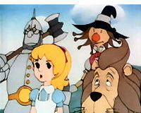 The main four characters in The Wizard of Oz anime