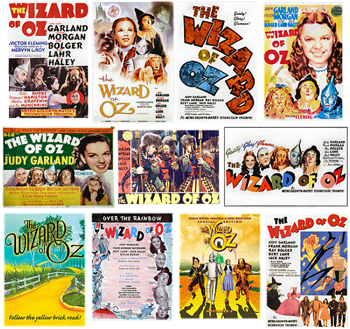 Images of posters for the 1939 MGM musical of The Wizard of Oz